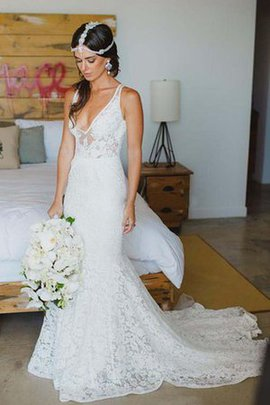 Lace Fabric Chic & Modern Deep V-Neck Pleated Sleeveless Wedding Dress
