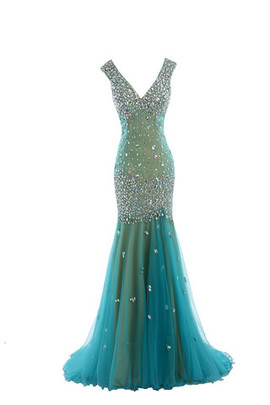 Sequined Romantic Empire Artificial Silk Fancy Evening Dress