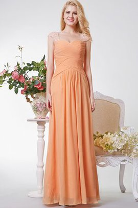 Chiffon A-Line Natural Waist Ruched Capped Sleeves Evening Dress