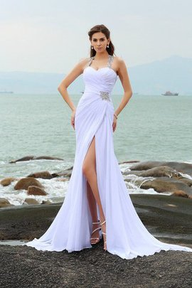 Empire Waist Wide Straps Chiffon Sheath Wedding Dress