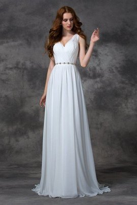 Sweep Train Long Backless A-Line Natural Waist Wedding Dress