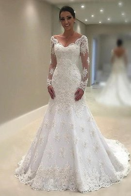 Court Train Embroidery Lace Fabric Long Sleeves Formal Romantic Enchanting Wedding Dress