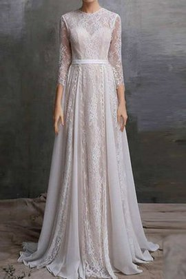 Lace Fabric Sweep Train Appliques 3/4 Length Sleeves Wedding Dress
