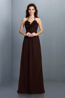 Sleeveless Natural Waist Halter A-Line Bridesmaid Dress
