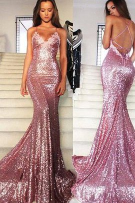 V-Neck Spaghetti Straps Floor Length Sequined Sequins Evening Dress