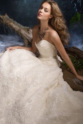 Organza Sashes Pleated A-Line Sweep Train Wedding Dress