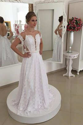 Short Sleeves Natural Waist Scoop A-Line Wedding Dress