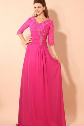 V-Neck Half Sleeves Floor Length Ruched Lace Evening Dress