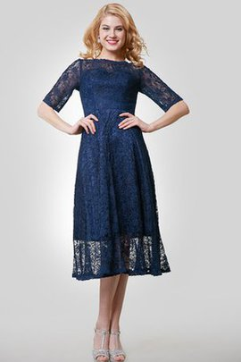 Bateau Elegant & Luxurious Lace Half Sleeves Bridesmaid Dress
