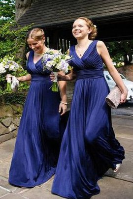 Zipper Up A-Line Natural Waist V-Neck Ruched Bridesmaid Dress