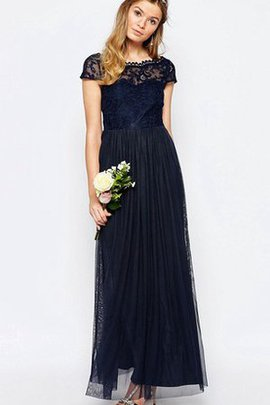 Tulle Elegant & Luxurious Short Sleeves A-Line Floor Length Bridesmaid Dress
