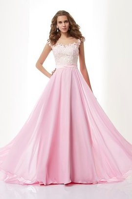 Sweep Train A-Line Long Chiffon Evening Dress
