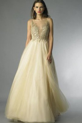 Tulle Sleeveless Natural Waist Beading Floor Length Prom Dress