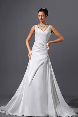 V-Neck Court Train Taffeta Sleeveless Wedding Dress