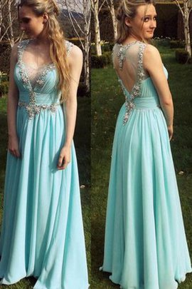 Lace Fabric Chiffon A-Line Natural Waist Prom Dress
