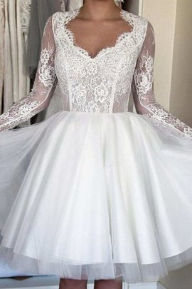 Tulle Simple Bow Queen Anne Knee Length Wedding Dress