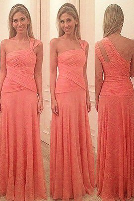 Floor Length Sleeveless Chiffon One Shoulder Sheath Bridesmaid Dress
