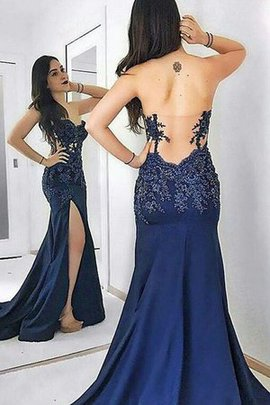 Sleeveless Sheath Sweetheart Satin Sweep Train Sparkling Natural Waist Prom Dress