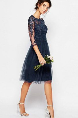 Bateau Simple Lace Fabric Tulle Elegant & Luxurious Bridesmaid Dress
