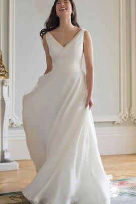 Ruched Modest Sleeveless A-Line V-Neck Wedding Dress