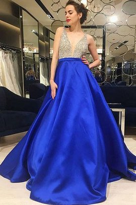 Beautiful Natural Waist A-Line Beading V-Neck Sweep Train Princess Evening Dress