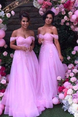 Princess Tulle Off The Shoulder Sleeveless Floor Length Bridesmaid Dress