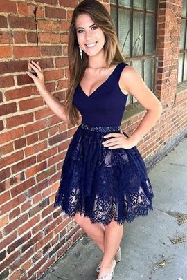 Beading Natural Waist Short V-Neck Lace Wonderful Sleeveless Party Dress