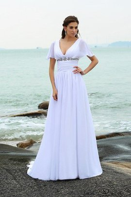 A-Line Long Chiffon Short Sleeves Wedding Dress