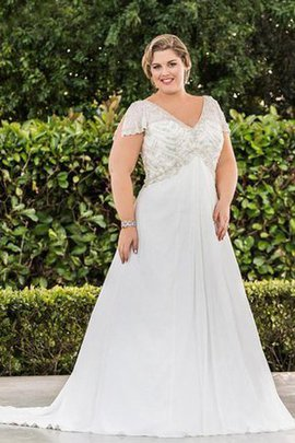 V-Neck Sweep Train Plus Size Lace-up Lace Wedding Dress