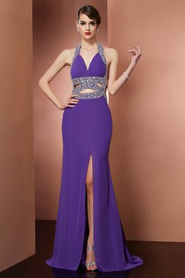 Beading Long Halter Backless A-Line Evening Dress