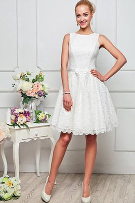 A-Line Jewel High Neck Knee Length Lace Homecoming Dress