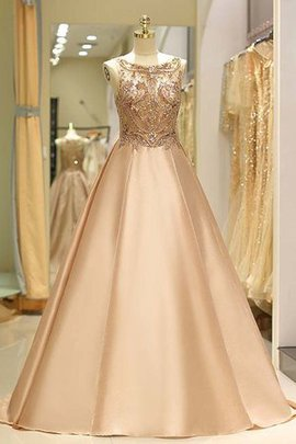 Sparkling Sleeveless Ball Gown Zipper Up Beading Natural Waist Bateau Evening Dress