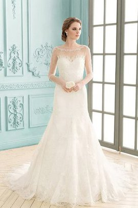 Bateau Court Train Appliques Sheath Zipper Up Wedding Dress