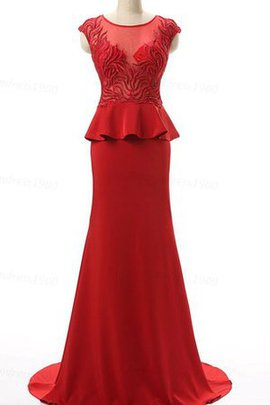 Beading Sweep Train Chiffon Short Sleeves Scoop Prom Dress