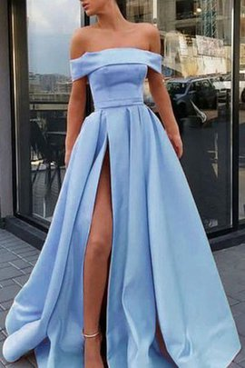 Pretty A-Line Natural Waist Princess Off The Shoulder Satin Sweep Train Prom Dress