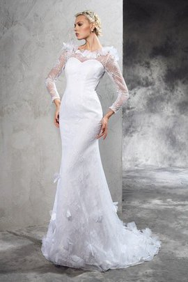Zipper Up Sheath Long Sleeves Long Court Train Wedding Dress