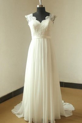 Ruffles Natural Waist A-Line Sashes Capped Sleeves Wedding Dress