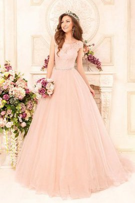 Lace-up Long Short Sleeves Capped Sleeves Beading Wedding Dress