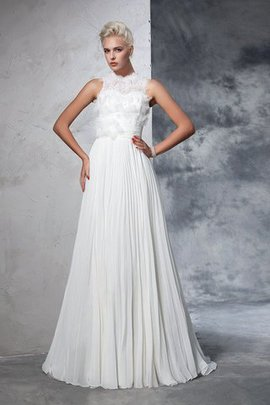 Empire Waist Chiffon Sleeveless A-Line High Neck Wedding Dress