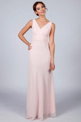 V-Neck Floor Length A-Line Ruched Chiffon Bridesmaid Dress