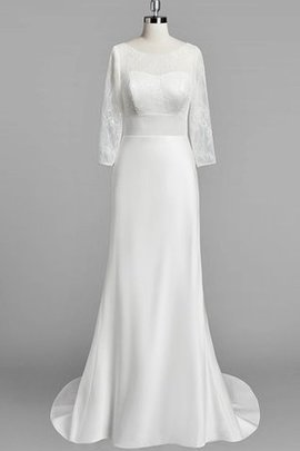 Satin Long Sleeves Scoop Court Train Lace Wedding Dress