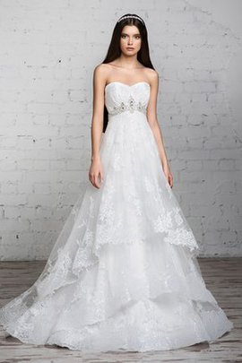Floor Length Lace-up Sleeveless Beading A-Line Wedding Dress