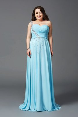 Chiffon Zipper Up A-Line Plus Size One Shoulder Prom Dress