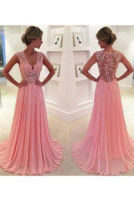 Princess Chiffon Lace V-Neck Sweep Train Evening Dress
