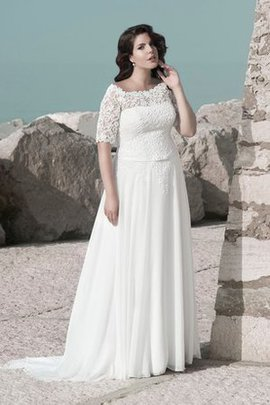 Scoop Simple Chiffon Short Sleeves Plus Size Wedding Dress