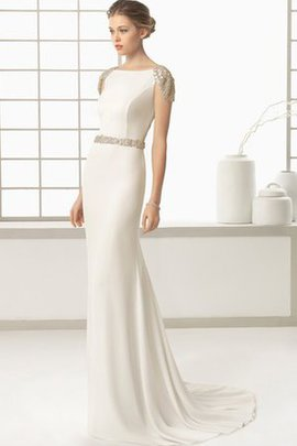 Short Sleeves Beach Sweep Train Deep V-Neck Button Wedding Dress