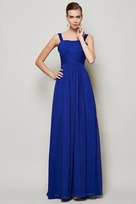 Long Spaghetti Straps Draped Chiffon Zipper Up Bridesmaid Dress