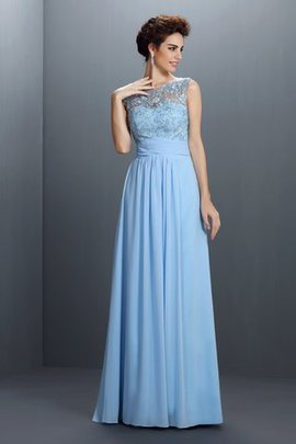 Bateau Long Appliques Natural Waist Princess Evening Dress
