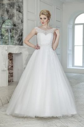 A-Line Beading Natural Waist Chapel Train Scoop Wedding Dress