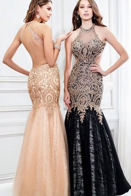 Sequined High Neck Beading Mermaid Keyhole Back Prom Dress